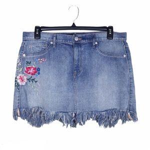 Express Denim Floral Embroidery Frayed Hem Skirt
